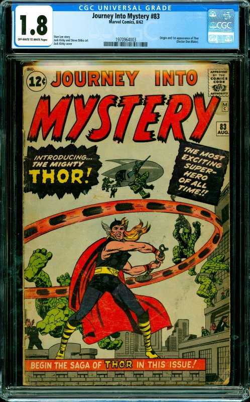 Journey Into Mystery #83 CGC Graded 1.8 Origin and 1st appearance of Thor (Do...