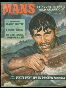 MAN'S MAGAZINE APRIL 1958-BABE RUTH-MAUGHAM-SIBERIA VG/FN