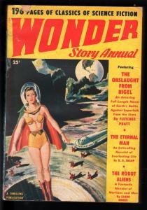WONDER STORY ANNUAL 1950-GOOD GIRL ART-SAM CHERRY SCI FI COVER-PULP VG