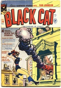 BLACK CAT #26-1950-COMIC & TEXT STORIES-FIRE IN THE ORPHANAGE COVER by LEE ELIAS