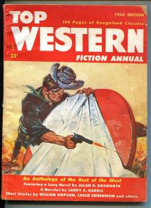 TOP WESTERN FICTION ANNUAL 1954-PULP-THRILLS-ACTION-A LESLIE ROSS COVER-vg