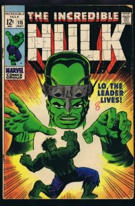 Incredible Hulk #115 ORIGINAL Vintage 1969 Marvel Comics The Leader
