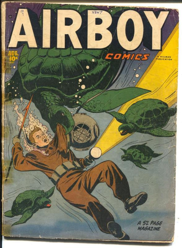Airboy Vol 8 #7 1951-Hillman-turtle fight cover-Heap-FR