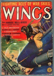 WINGS PULP-SPRING 1942-AVIATION-WWII-FICTION HOUSE VG