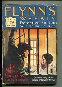 FLYNN'S WEEKLY DETECTIVE FICTION-JAN 15 1927-PULP-CRIME-MYSTERY-TIGER WOMAN-vg-