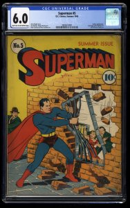 Superman #5 CGC FN 6.0 Full Page Ad for Batman #1!