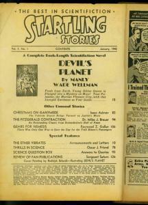 Startling Stories Pulp Jan 1942- Devils Planet- Manly Wade Wellman- Bargain copy