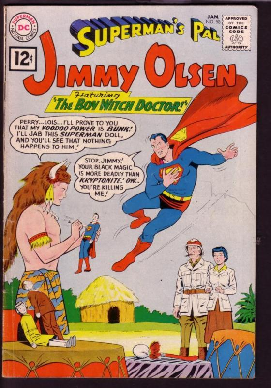 SUPERMAN'S PAL JIMMY OLSEN #58 1962-WITCH DOCTOR COVER VG