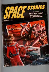 SPACE STORIES 1953 FEB-#3-SPACE GIRL COVER-HENRY HASSE FN