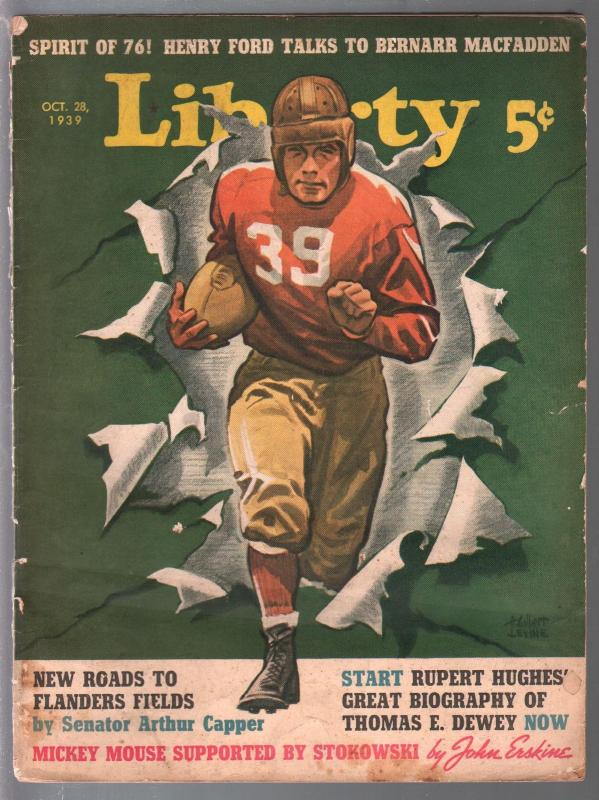 Liberty 10/28/1939-football cover-Henry Ford-FBI pulp story-Kellogg's All Bran-V