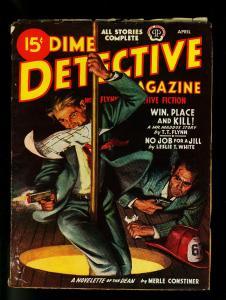 Dime Detective Pulp April 1945- Hardboiled Crime- Firehouse cover- VG