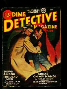 Dime Detective Pulp October 1945- Hardboiled Crime-Great cover- G/VG