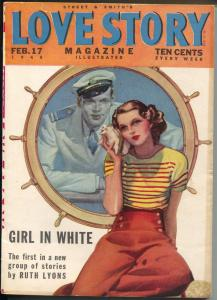 Love Story 2/17/1940-Girl Art cover-pulp romance stories-Ruth Lyons-FN