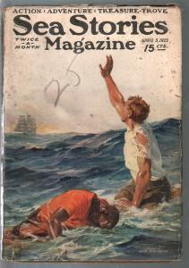 Sea Stories 4/5/1923-Anton Otto Fischer cover-Capt Dingle-VG-