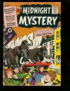 MIDNIGHT MYSTERY #6 1961-PRE-HISTORIC MASTEDON COVER VG