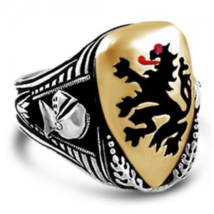 Rampant Lion Shield ring sterling silver
