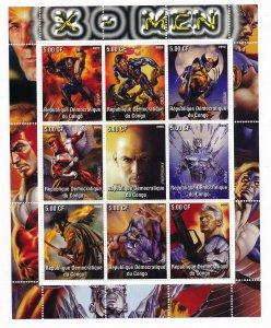 X-Men, 2002 - 9 Stamp Mint Sheet