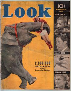 Look 11/9/1937-elephant-Sally rand-Rudy Vallee-photocrime-FR/G