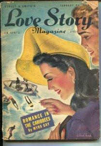 Love Story 1/24/1942-J.Clark Work cover-pulp stories-Myra Gay-Celia Keegan-Da...