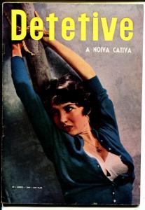 Detective 4/1959-crime pix-bound babe in bra photo cover-Brazil-VG+
