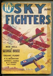 SKY FIGHTERS 06/1933-AIR WAR PULPS-WWI-CLASSIC-RARE-good minus