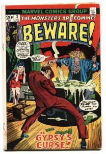BEWARE #3-VOODOO COVER-MARVEL-1973-HORROR