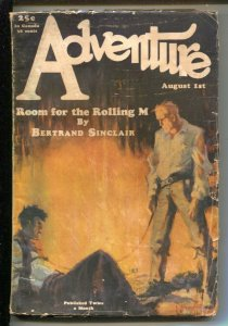 Adventure 8/1/1928-Butterick-James C McKell western cover-pulp stories-WWI-Th...