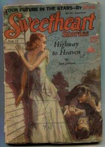 Sweetheart Stories Pulp August 11 1931- Highway to Heaven- low grade