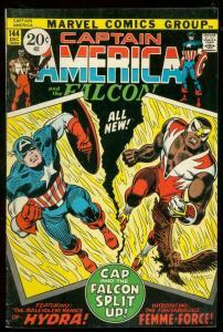 CAPTAIN AMERICA #144 1971-FALCON-MARVEL COMICS-fine FN