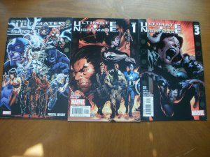 3 Marvel Comic:THE ULTIMATES SAGA (2007) & ULTIMATE NIGHTMARE #1 #3 (2004)