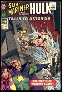 TALES TO ASTONISH #86 NAMOR & HULK 1966 NICE MARVEL VG