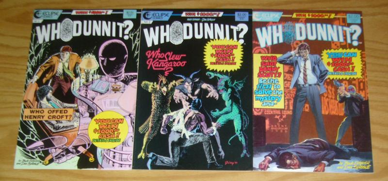 Whodunnit? #1-3 VF murder mystery comics CAN YOU FIGURE IT OUT? eclipse set 1986