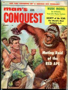 Man's Conquest Magazine September 1956-WITCH DOCTORS-DUELING CLUBS VG/FN
