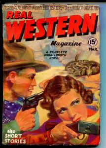 REAL WESTERN 03/1935-2ND ISSUE-RATTLESNAKE-BILLY THE KID-GEORGE GROSS-fn/vf