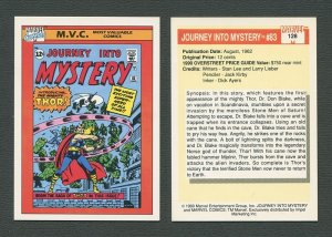 1990 Marvel Comics Card  #128 (Journey Into Mystery #83 Cover) NM-MT