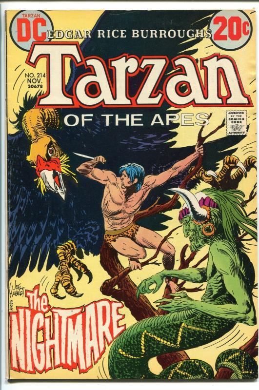 TARZAN #214 1972-DC-EDGAR RICE BURROUGHS-JOE KUBERT JUNGLE ART-vf