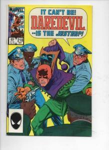 DAREDEVIL #218 VF+  Murdock, Jester, 1964 1985, more Marvel in store