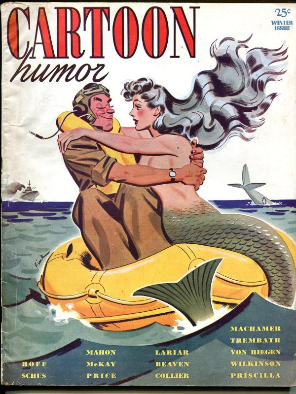 Cartoon Humor-Winter 1943-WWII era mermaid-cartoons-Machamer-Priscilla-VG/FN