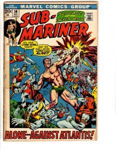Lot Of 4 Prince Namor Sub-Mariner Marvel Comic Books # 56 57 58 59 VG Range RH2