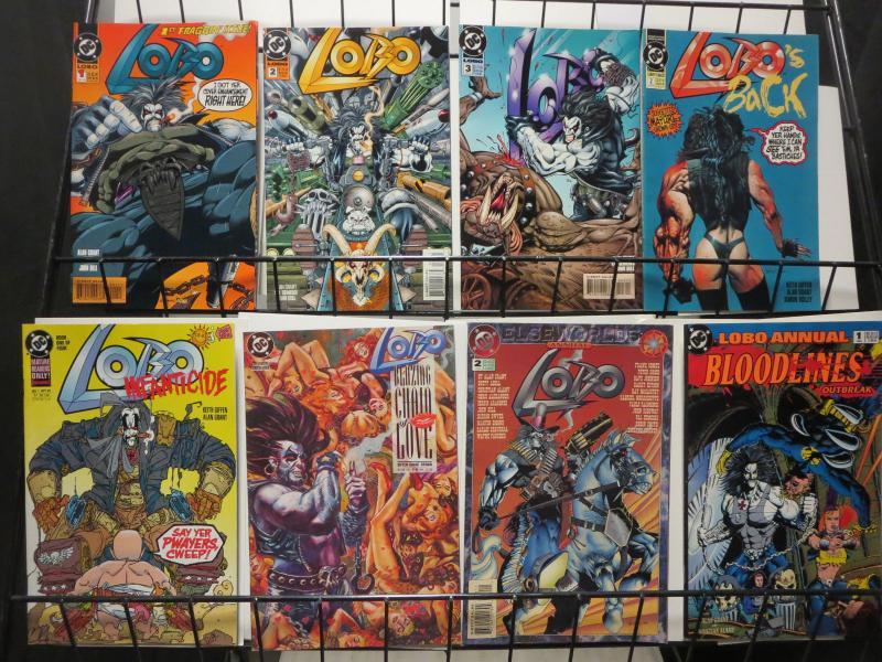 Lobo Comics Lot of 8Diff DC's Bastich in Blazing Chain Elseworld Bloodlines Fun!