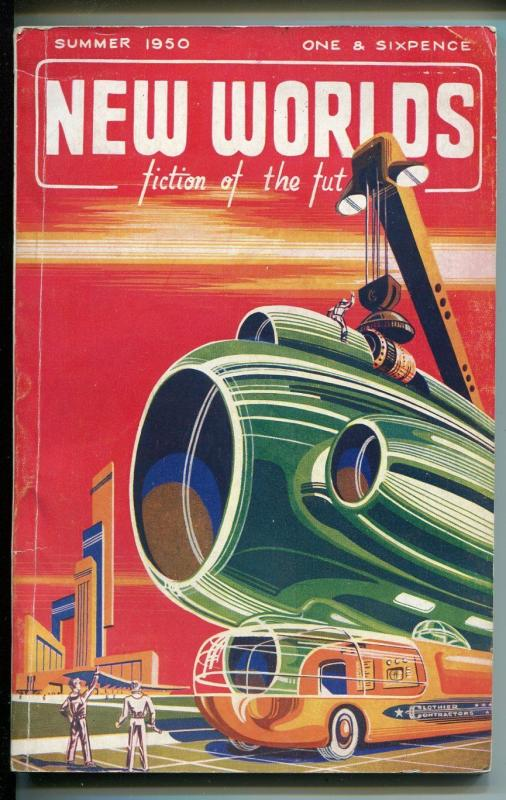 New Worlds-Summer 1950-British sci-fi pulp-striking cover artVG+