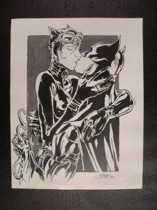 Batman & Catwoman Kissing Lithograph Print 11.5 x 8.5 DC