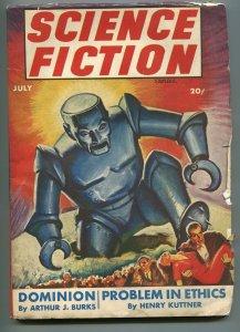 SCIENCE FICTION STORIES-07/1943-COLUMBIA-MENACING ROBOT-ROBERT BLOCH-KUTTNER-vg