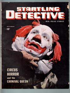 STARTLING DETECTIVE NOV 1946-CLOWN COVER-CIRCUS HORROR-PULP-TRUE CRIME G