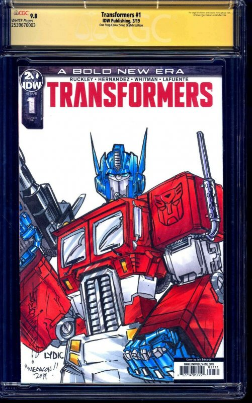 Transformers #1 ONE STOP BLANK CGC SS 9.8 OPTIMUS SKETCH by Alex Milne LYDIC