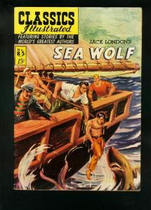 CLASSICS ILLUSTRATED #85 HRN 85-SEA WOLF-JACK LONDON-SHARK COVER-fine/very FN/VF
