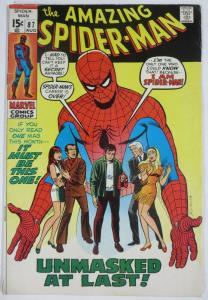 AMAZING SPIDER-MAN  #87 (Marvel, 8/1970)  (VG) Prowler! Gwen Stacy! Lee & Romita