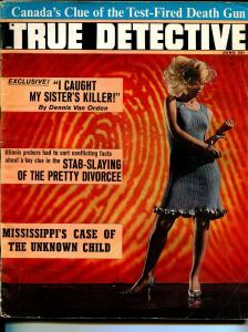 True Detective 6/1966-psycedelic cover-handcuffed blonde babe-violent crime-VG