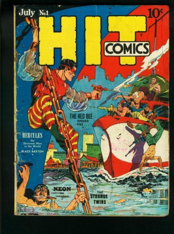 HIT COMICS #1-1940-NEON/HERCULES/RED BEE/X-5/GOLDEN AGE G/VG