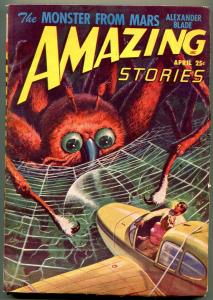 Amazing Stories Pulp April 1948- Spider cover- Monster from Mars FN
